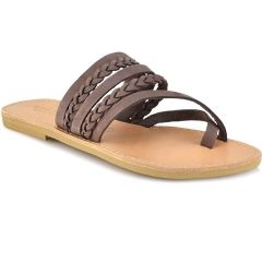 Leather brown slipper Tsakiris Sandals TS1025