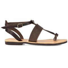 Leather brown croco sandal Tsakiris Sandals TS608