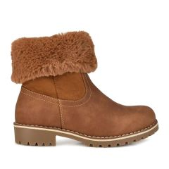 Camel kids bootie with fur ZL209