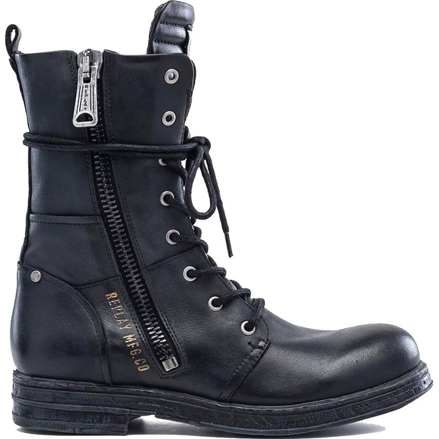 Μαύρο δερμάτινο biker boot REPLAY EVY
