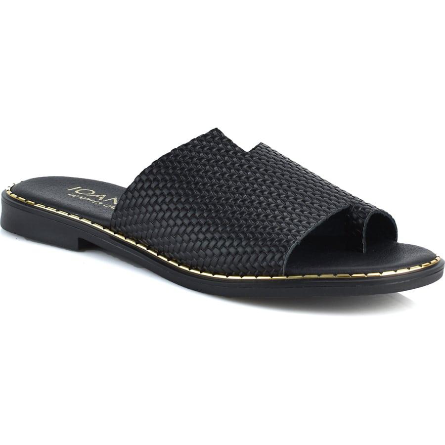 Δερμάτινo μαύρo σανδάλι IOANNIS ID212