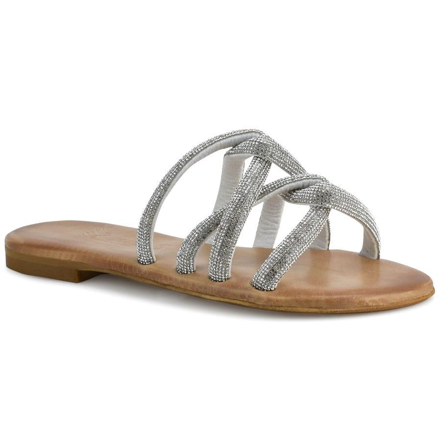 Δερμάτινo ασημί σανδάλι Iris Sandals IR219