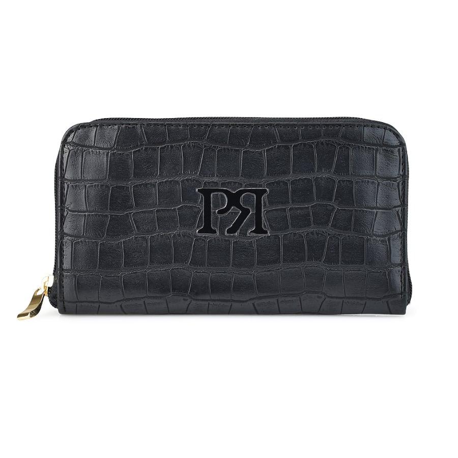 Μαύρο eco-leather πορτοφόλι Pierro Accessories 00022