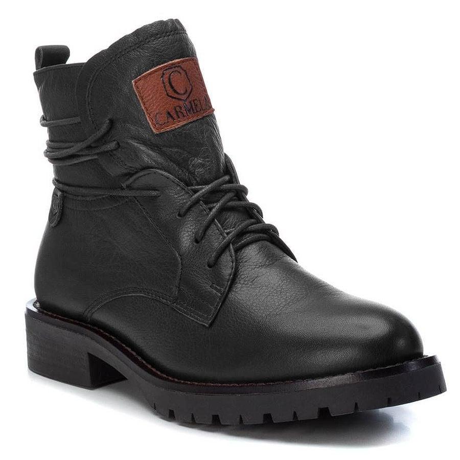 Δερμάτινο μαύρο biker boot Carmela 66958