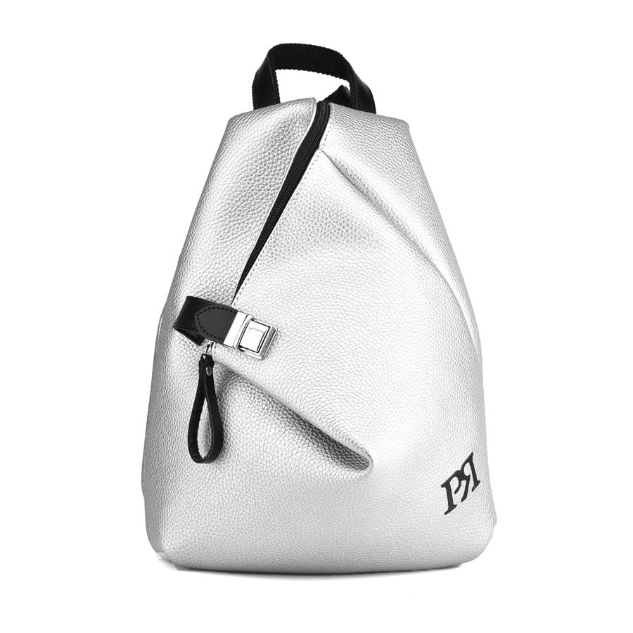 Ασημί eco-leather σακίδιο πλάτης Pierro Accessories 09527