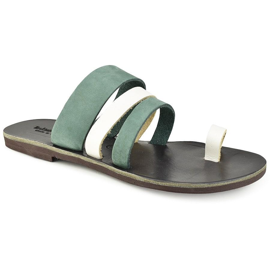 Δερμάτινη πράσινη σαγιονάρα Tsakiris Sandals TS1035