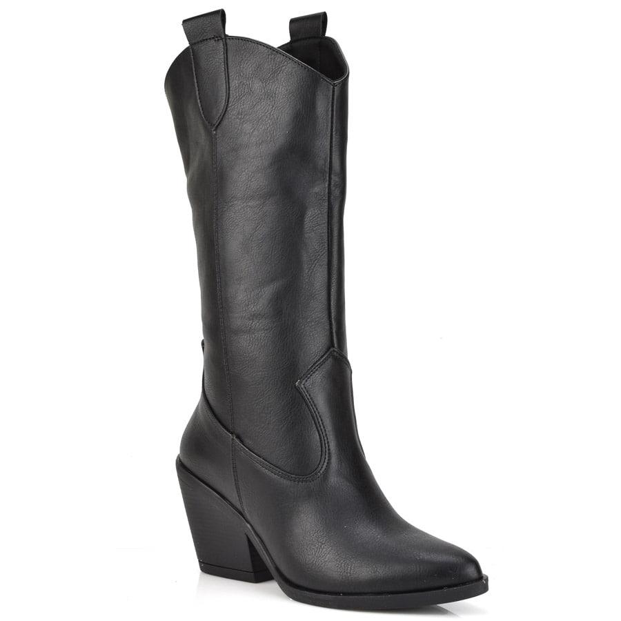 Μαύρη cowboy μπότα AMELIA MP1020