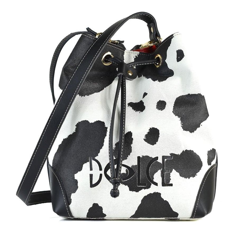 Ασπρόμαυρη τσάντα πουγκί Dolce 218027AG