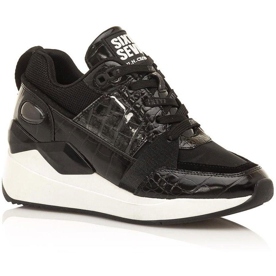 Δερμάτινο μαύρο sneaker SIXTYSEVEN 30215