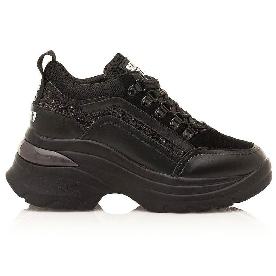 Δερμάτινο μαύρο sneaker SIXTYSEVEN 30263