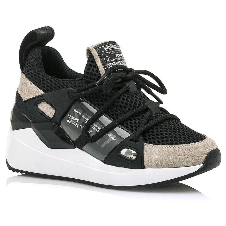 Δερμάτινο μπεζ sneaker SIXTYSEVEN 30301