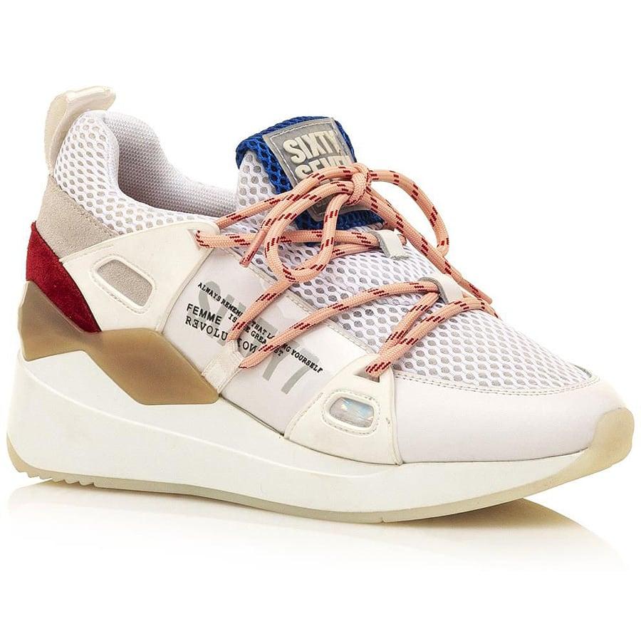 Δερμάτινο λευκό sneaker SIXTYSEVEN 30301