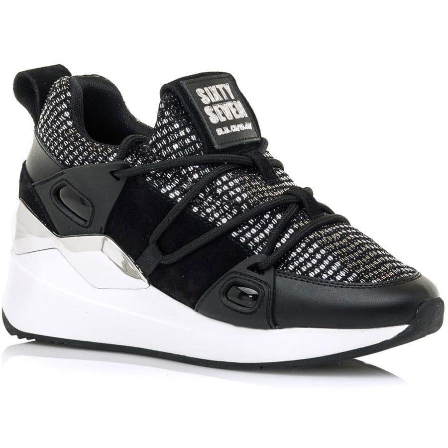 Δερμάτινο μαύρο sneaker SIXTYSEVEN 30301