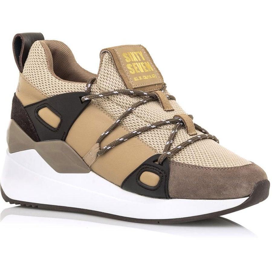 Δερμάτινο μπεζ με πούρο sneaker SIXTYSEVEN 30301
