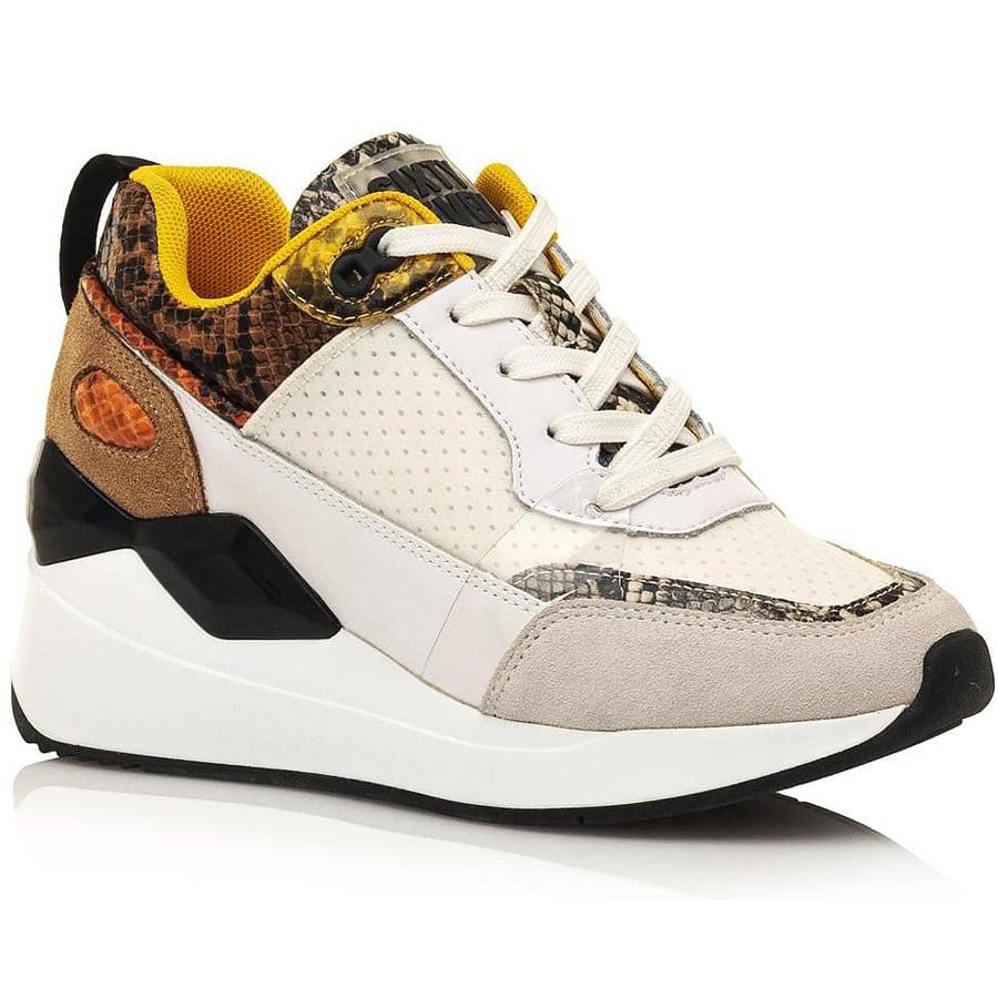 Δερμάτινο λευκό φίδι sneaker SIXTYSEVEN 30488