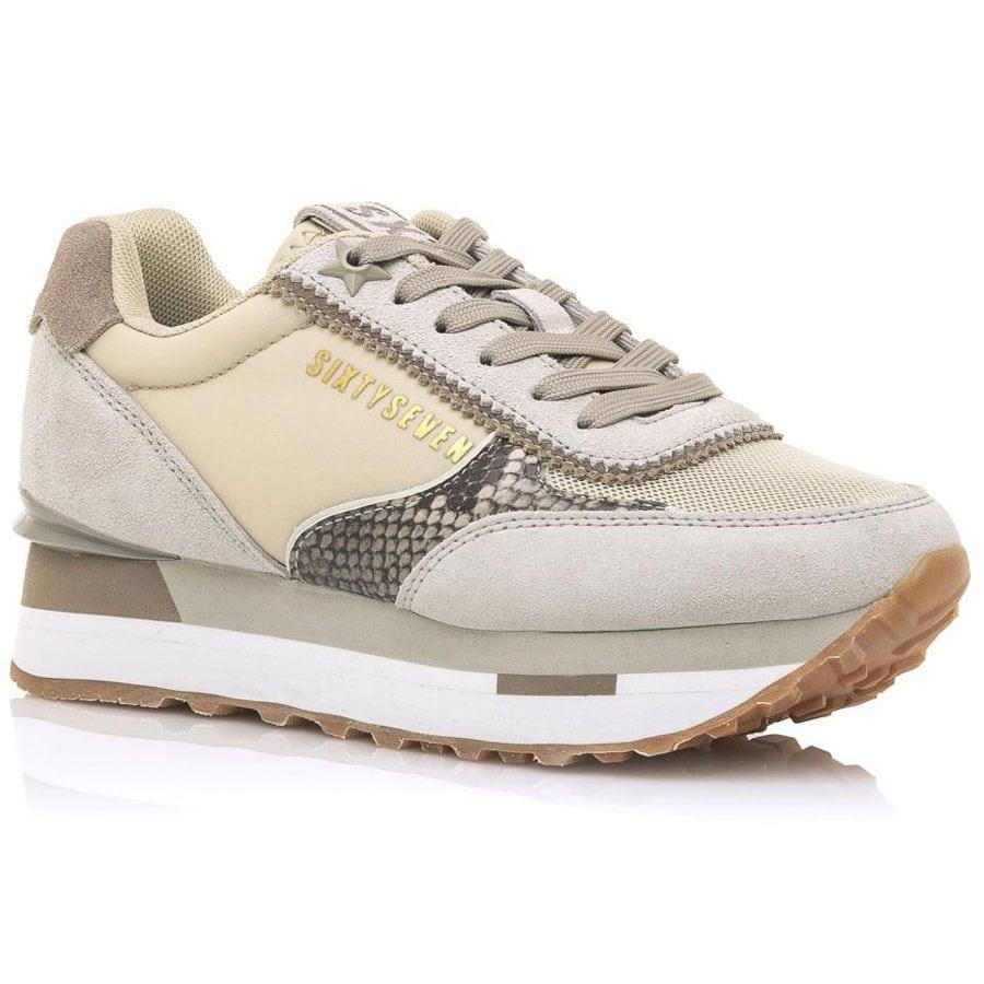Δερμάτινο μπεζ sneaker SIXTYSEVEN 30835