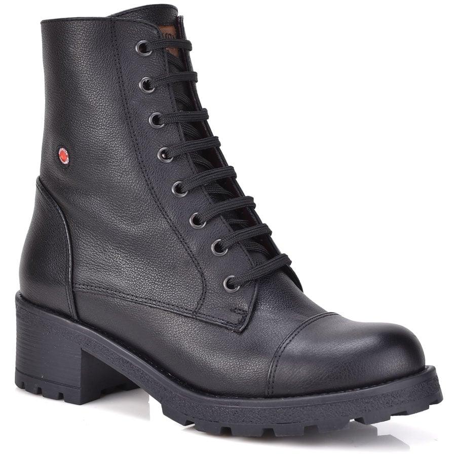 Δερμάτινο μαύρο biker boot Fratelli Robinson 3455