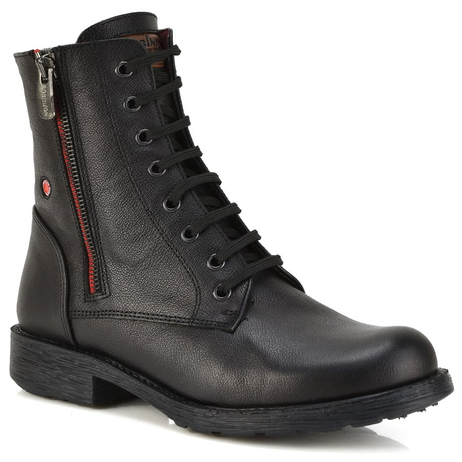 Δερμάτινο μαύρο biker boot Fratelli Robinson 3554