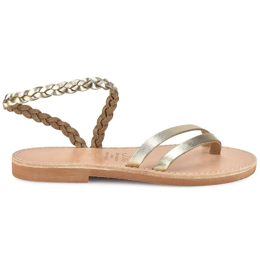 Δερμάτινο χρυσό σανδάλι με κοτσίδα Iris Sandals IR4/13