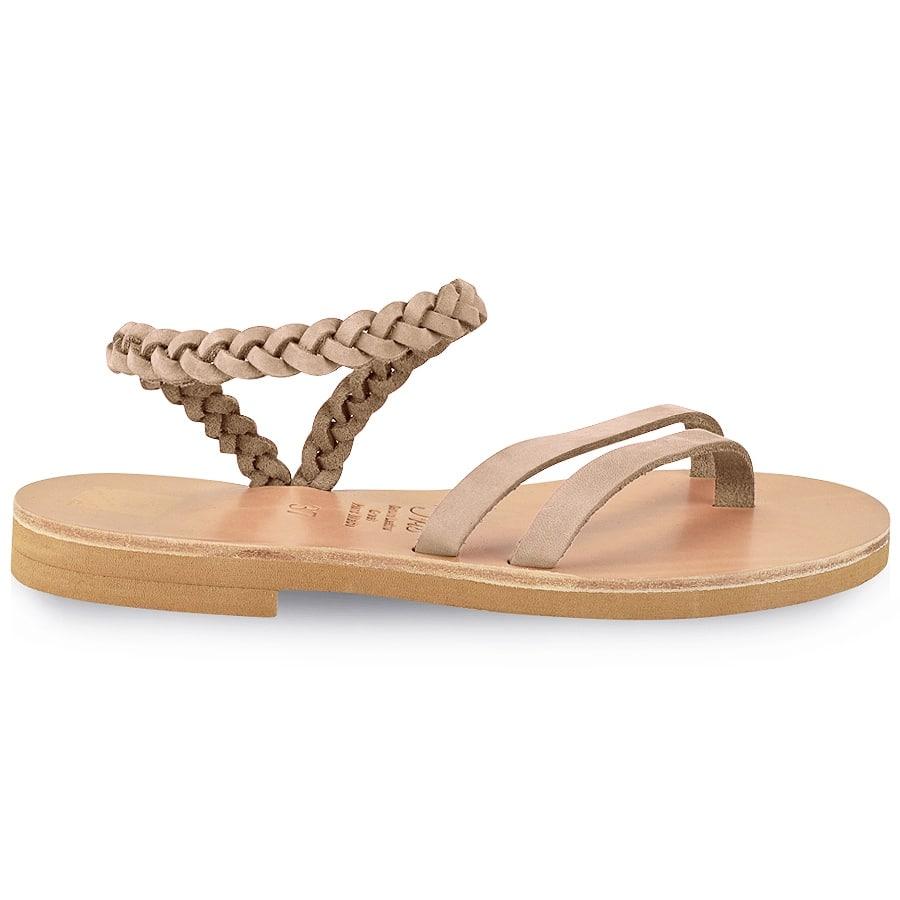 Δερμάτινο nude σανδάλι με κοτσίδα Iris Sandals IR4/13