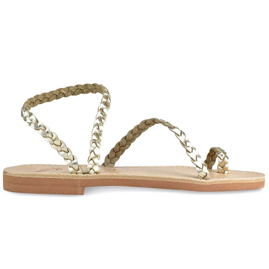 Δερμάτινο χρυσό σανδάλι με κοτσίδα Iris Sandals IR4/47