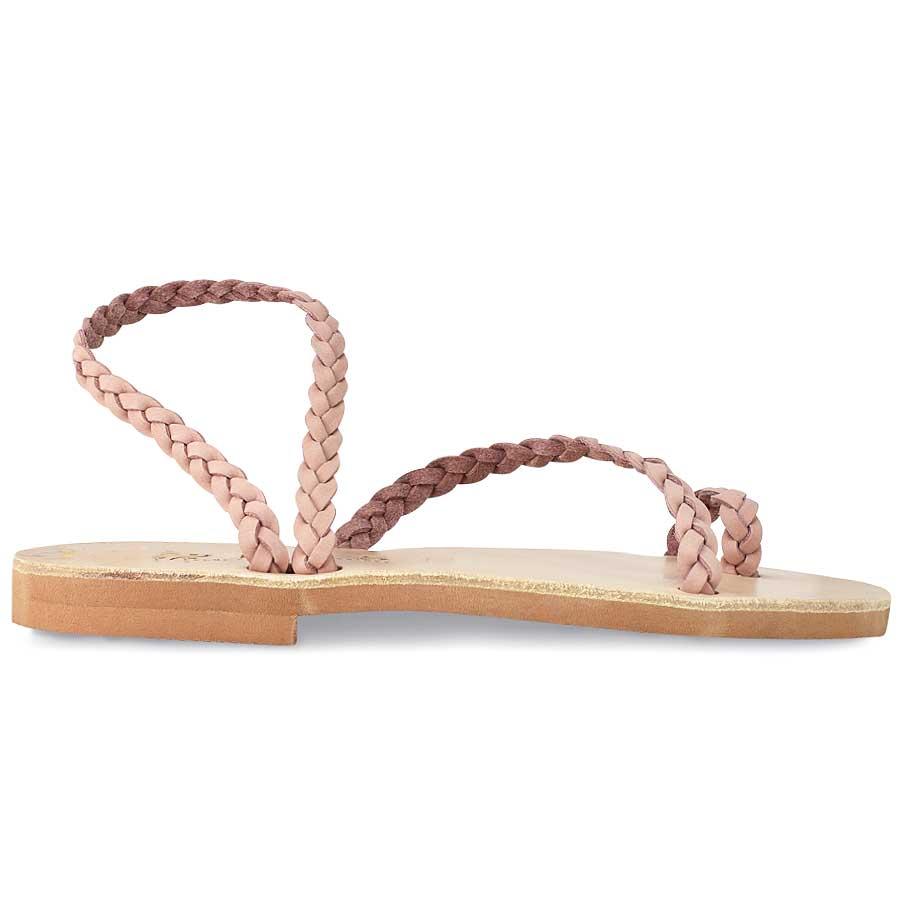 Δερμάτινο ροζ σανδάλι με κοτσίδα Iris Sandals IR4/47