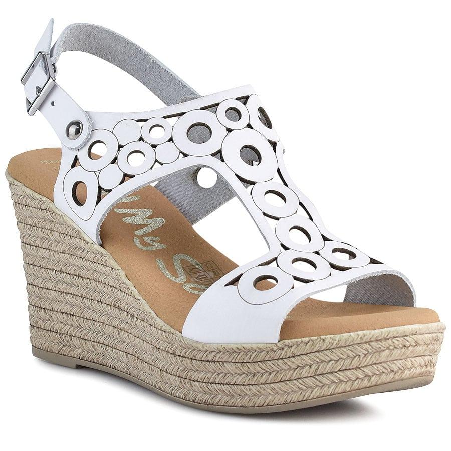 Δερμάτινη λευκή πλατφόρμα Oh my Sandals 4597