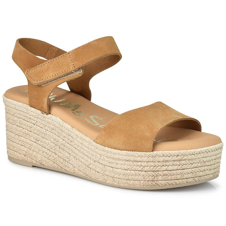 Δερμάτινη καμελ πλατφόρμα Oh my Sandals 4601