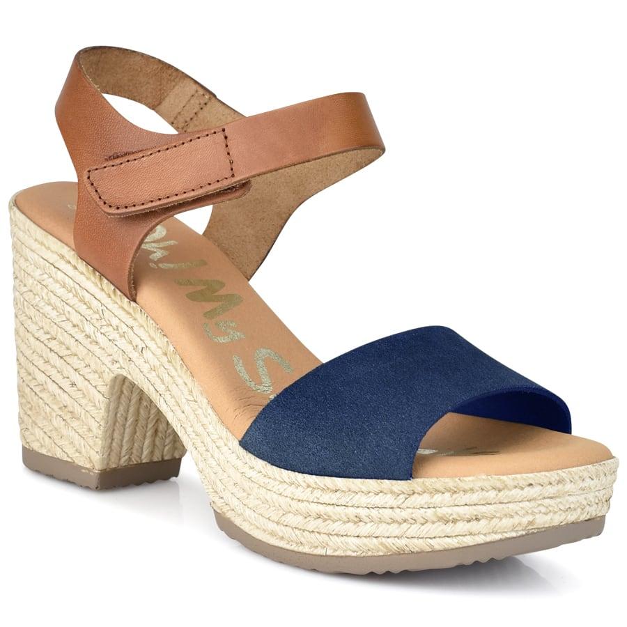 Δερμάτινο μπλε πέδιλο Oh my Sandals 4606