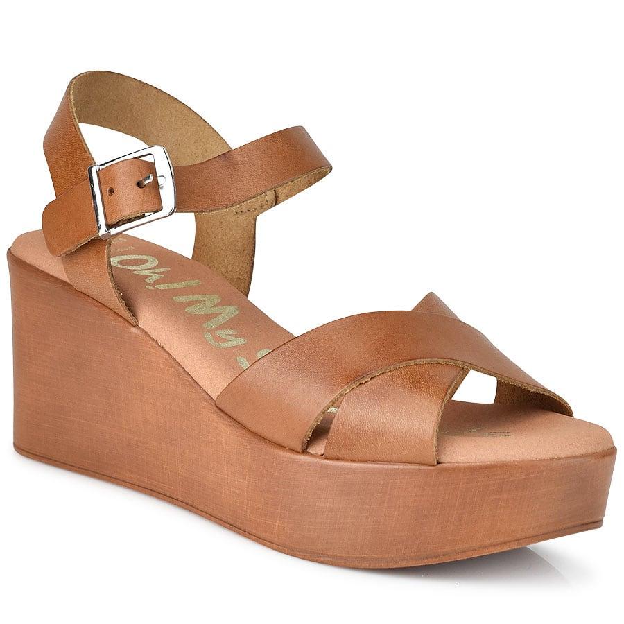 Δερμάτινη ταμπά πλατφόρμα Oh my Sandals 4616