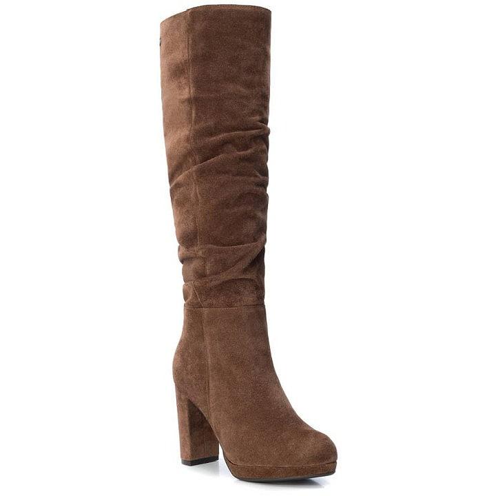 Δερμάτινη κάμελ μπότα Carmela 67077
