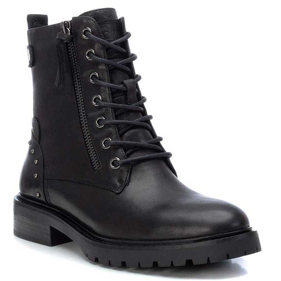 Δερμάτινο μαύρο biker boot Carmela 67412
