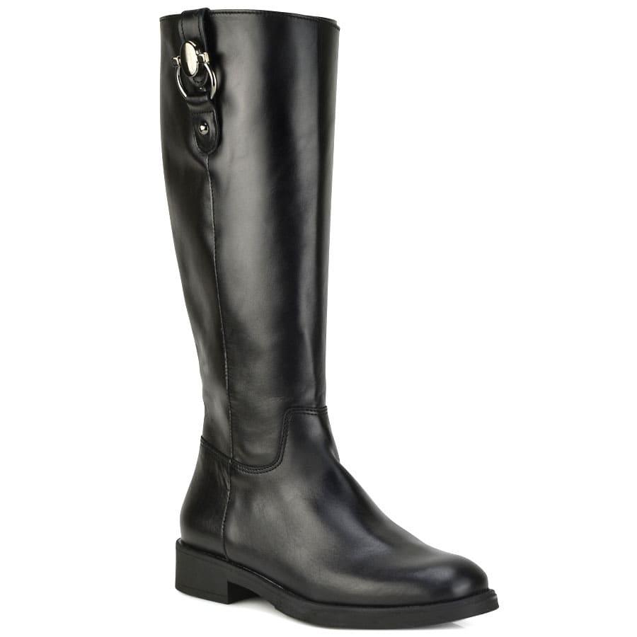 Δερμάτινη μαύρη μπότα ιππασίας D Chicas 6838
