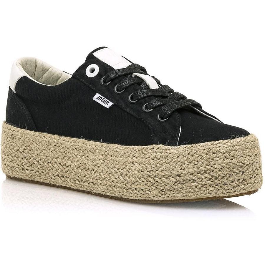 Μαύρο sneaker με ψάθα MTNG 69492