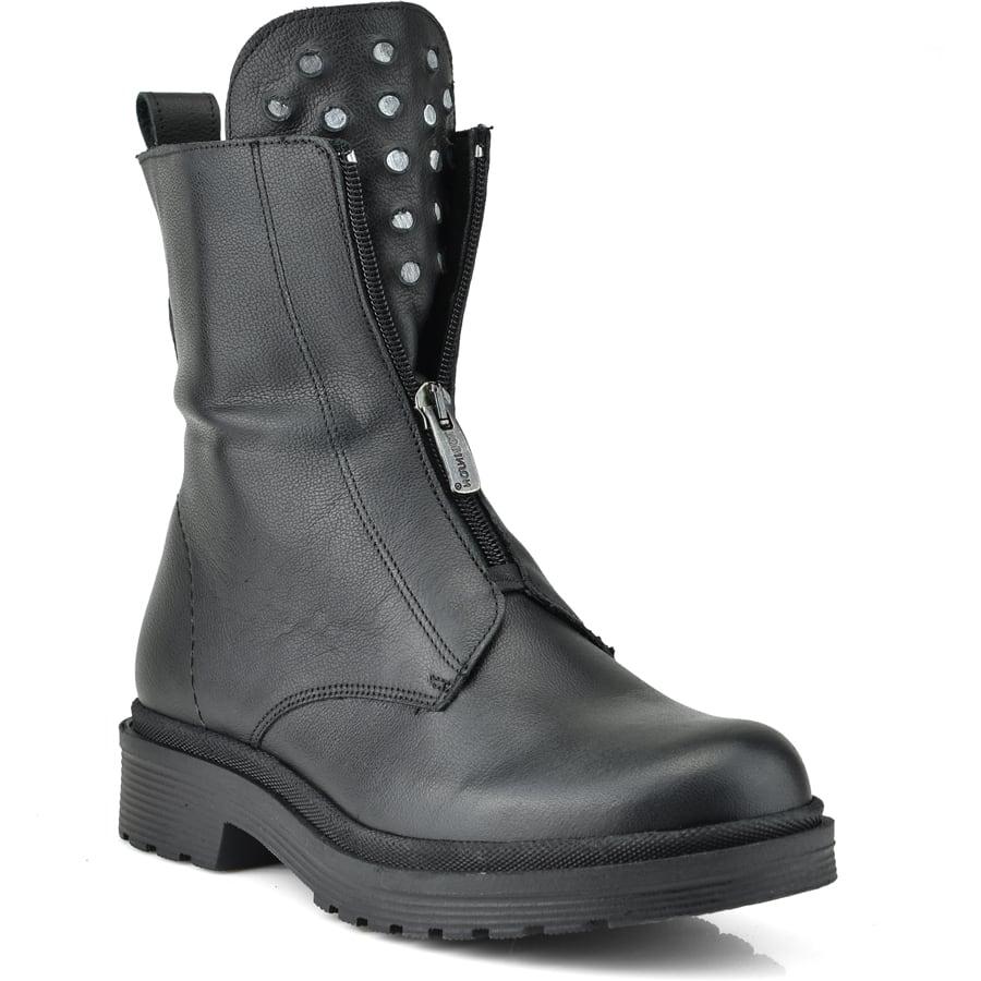 Δερμάτινο μαύρο biker boot Fratelli Robinson 7113