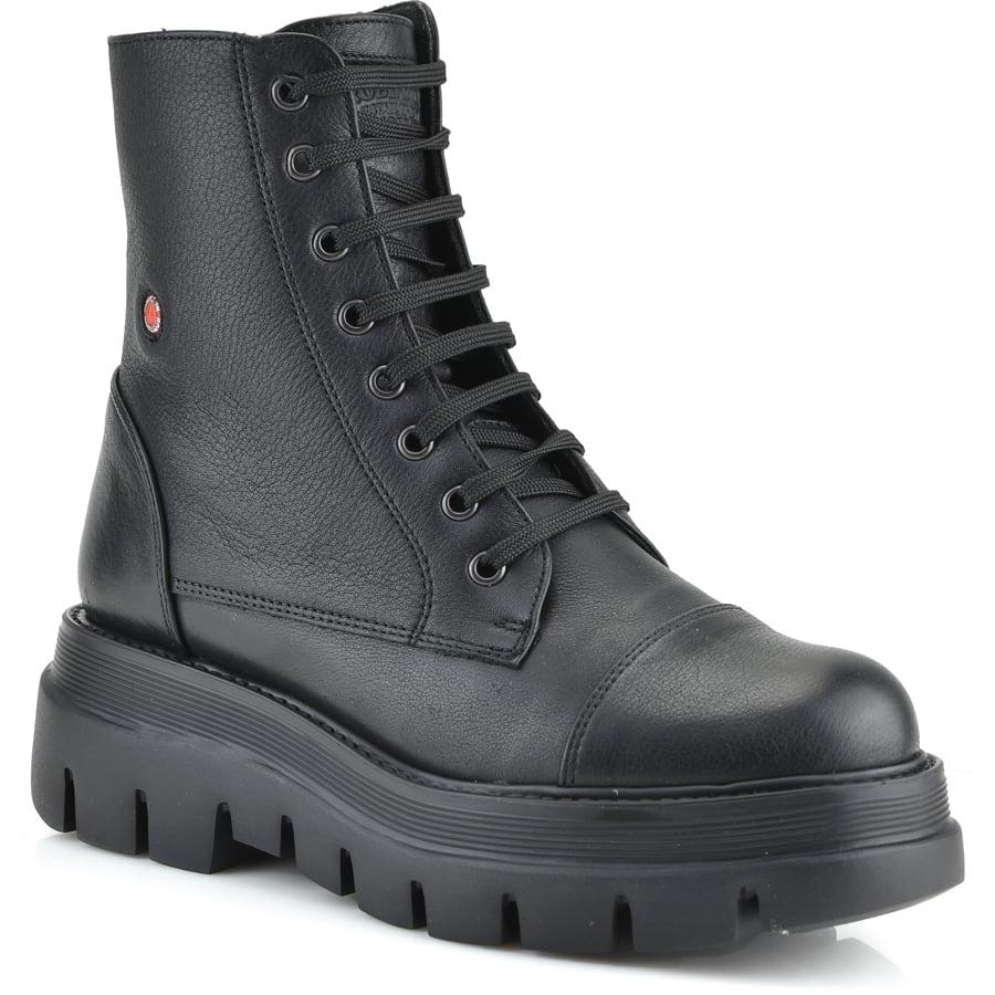 Δερμάτινο μαύρο biker boot Fratelli Robinson 7250