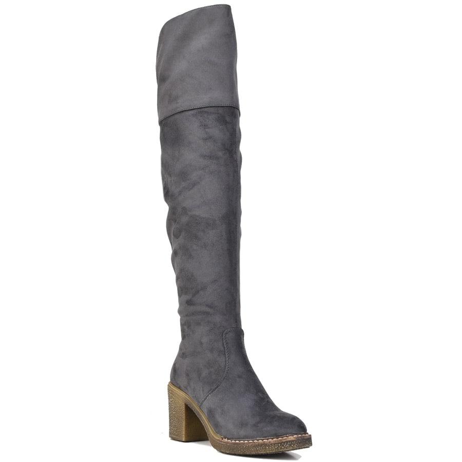 Γκρι μπότα πάνω απο το γόνατο Lets Walk JN77-16