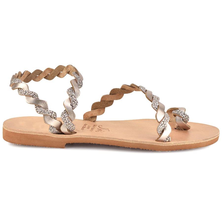 Δερμάτινο σανδάλι με ασημί glitter Iris Sandals IR9/13