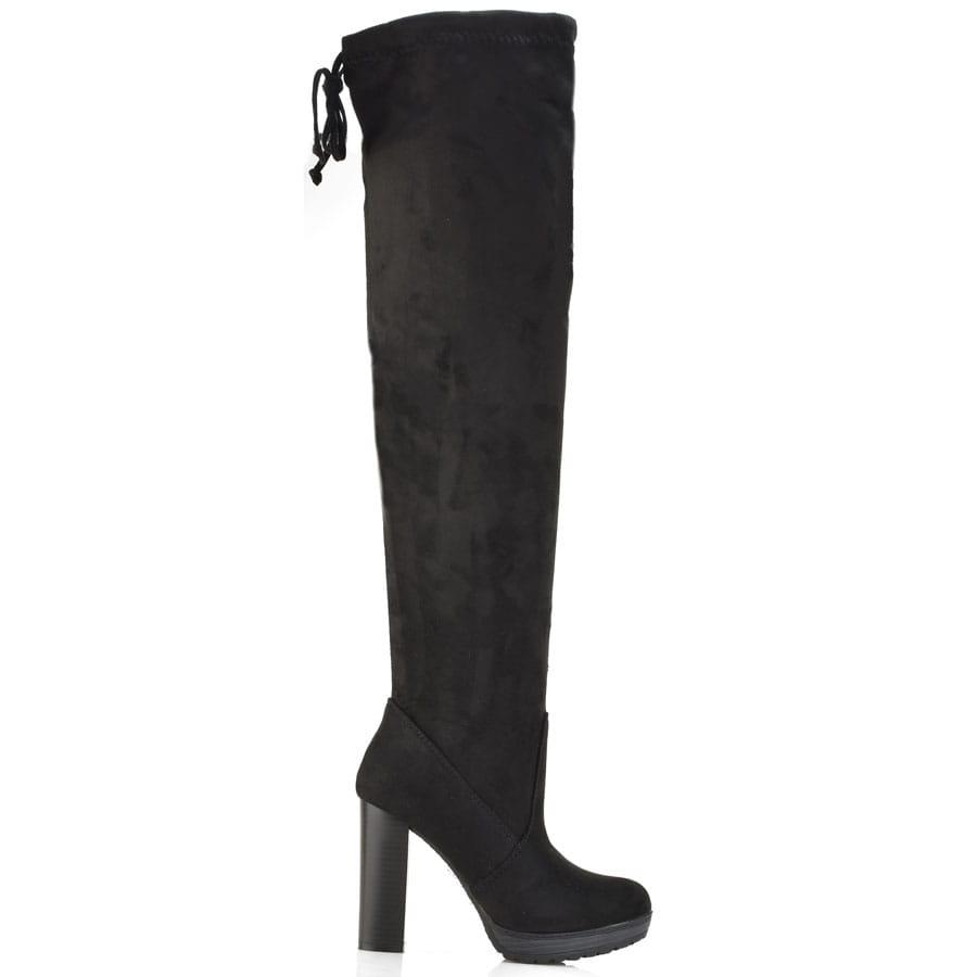 Μαύρη σουέντ μπότα πάνω από το γόνατο A58