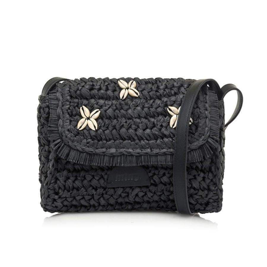 Μαύρη ψάθινη τσάντα χιαστή MTNG ANEMON