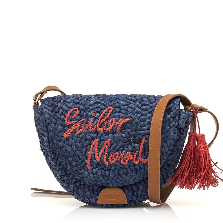 Μπλε ψάθινη τσάντα χιαστή MTNG AUTER
