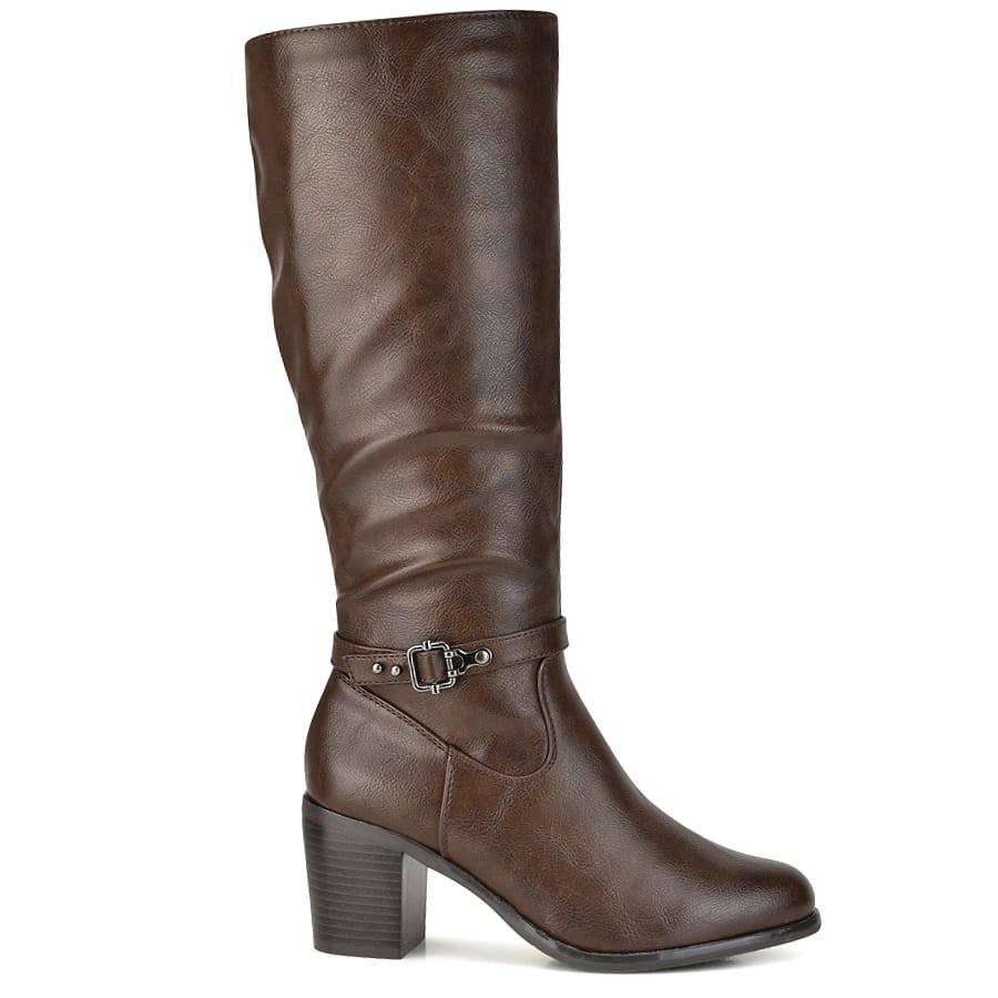 Καφέ μπότα με τακούνι BM9067