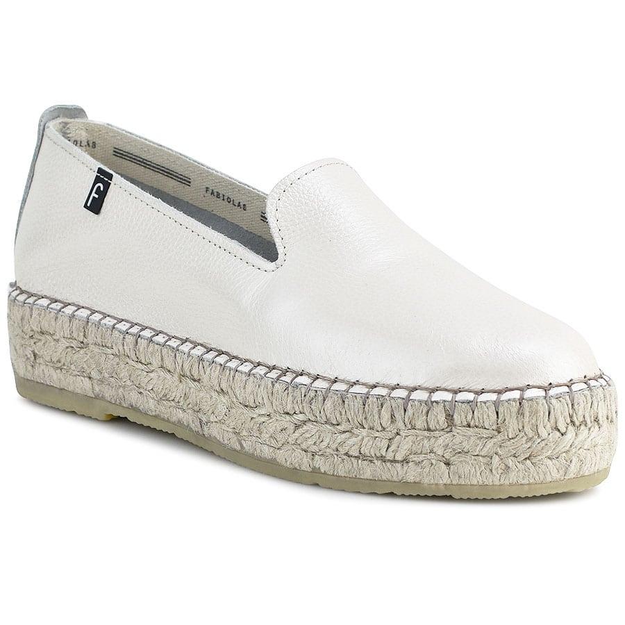 Δερμάτινες λευκές περλέ εσπαντρίγιες Fabiolas D107700