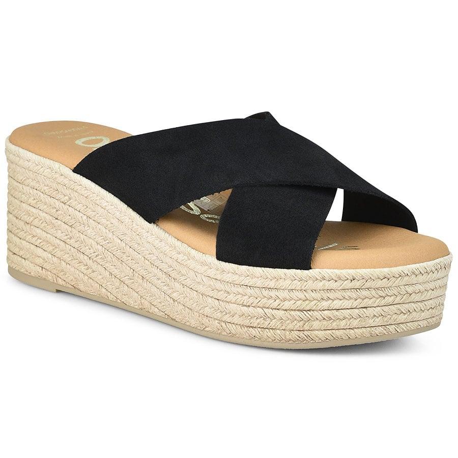 Δερμάτινο μαύρο flatform Oh my Sandals 4603