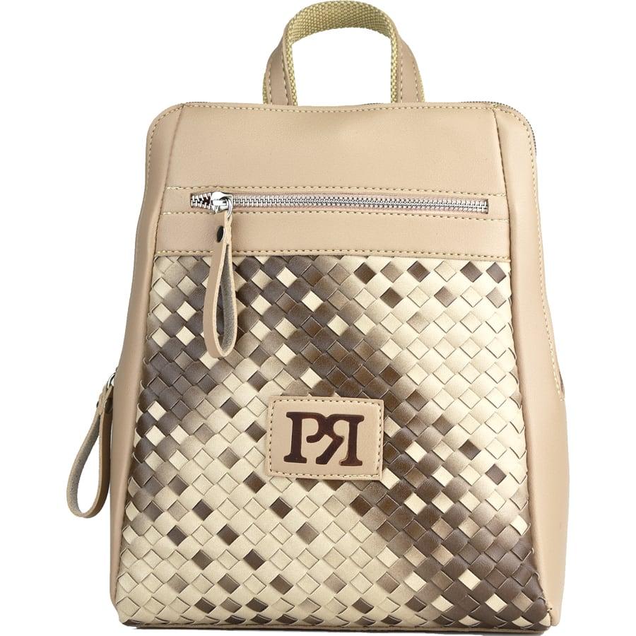Μπέζ πλεκτό eco-leather σακίδιο πλάτης Pierro Accessories 90580