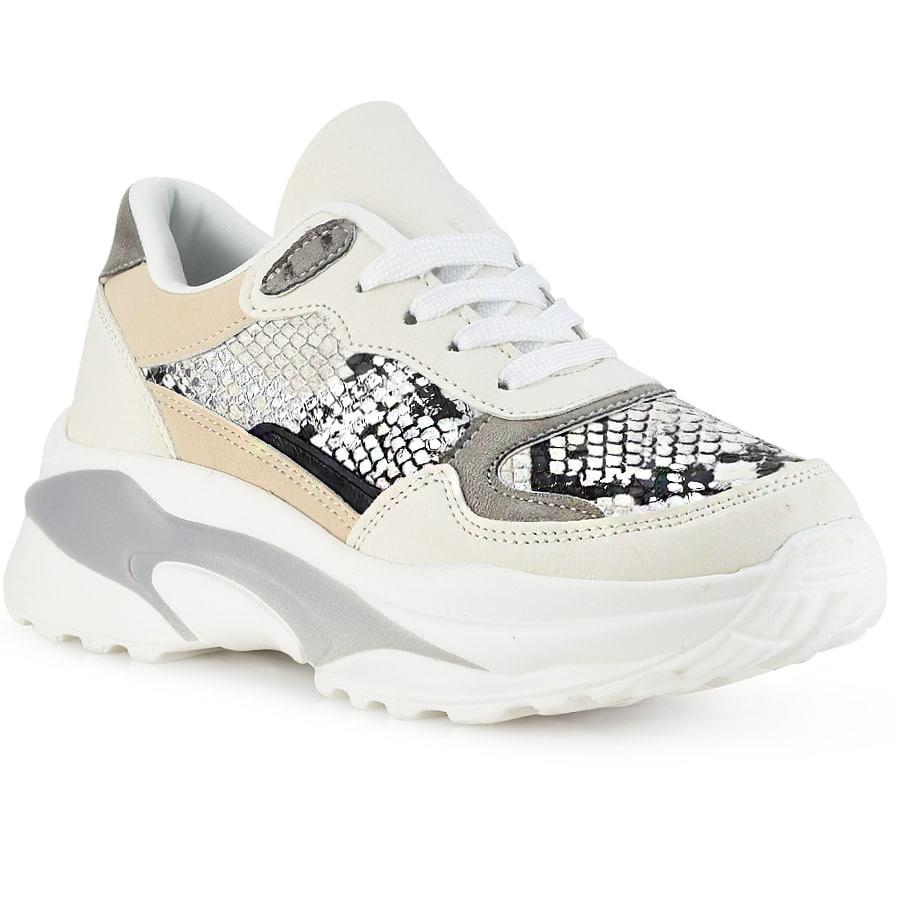 Λευκό sneaker με snake print G204