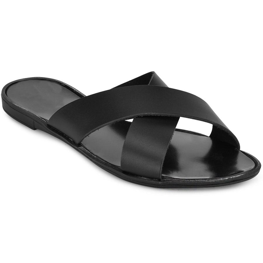 Δερμάτινη μαύρη χιαστή σαγιονάρα GT02