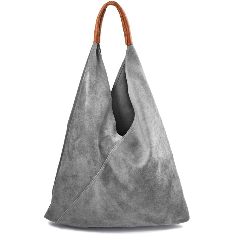 Δερμάτινη γκρι hobo bag Didi
