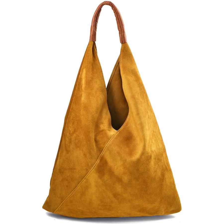 Δερμάτινη κίτρινη hobo bag Didi