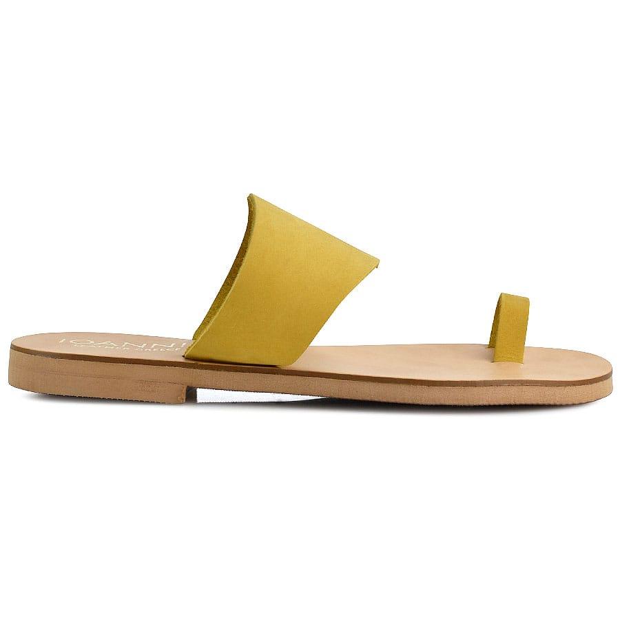 Δερμάτινη κίτρινη σαγιονάρα IOANNIS ID019